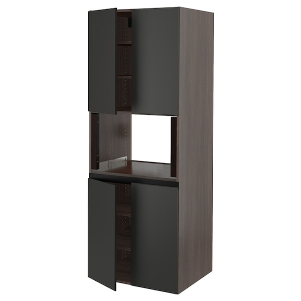 SEKTION High cabinet for micro w 4 doors, brown/Kungsbacka anthracite, 30x24x80 ""