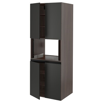"""SEKTION High cabinet for micro w 4 doors, brown/Kungsbacka anthracite, 30x24x80 """""""
