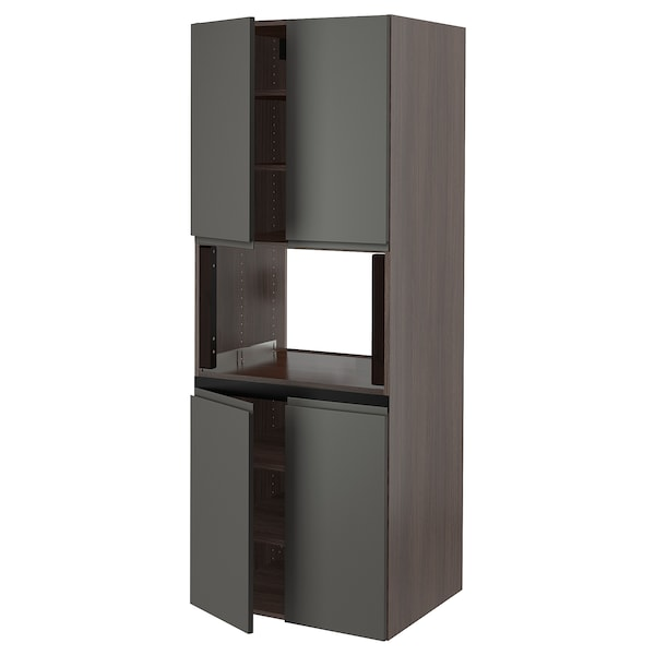 SEKTION High cabinet for micro w 4 doors, brown/Voxtorp dark gray, 30x24x80 ""