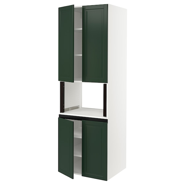 SEKTION High cabinet for micro w 4 doors, white/Bodbyn dark green, 30x24x90 ""