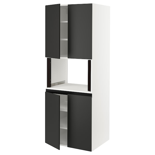 """SEKTION High cabinet for micro w 4 doors, white/Kungsbacka anthracite, 30x24x80 """""""