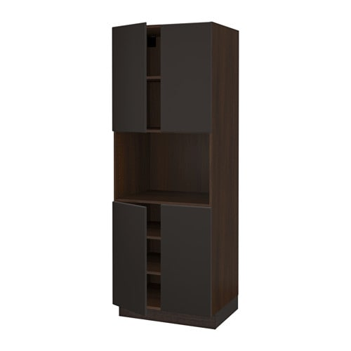 SEKTION High cabinet for microwave & 4doors wood effect brown Kungsbac