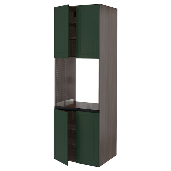 """SEKTION High cabinet for oven w 4 doors, brown/Bodbyn dark green, 30x24x90 """""""