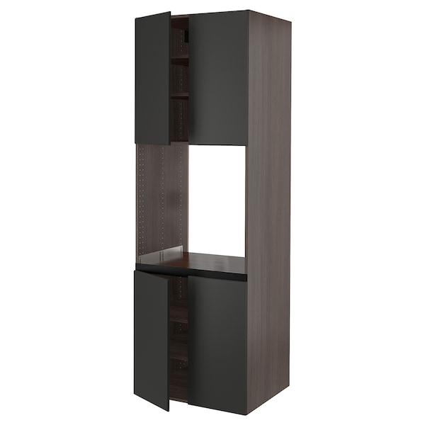 """SEKTION High cabinet for oven w 4 doors, brown/Kungsbacka anthracite, 30x24x90 """""""