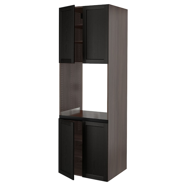 """SEKTION High cabinet for oven w 4 doors, brown/Lerhyttan black stained, 30x24x90 """""""