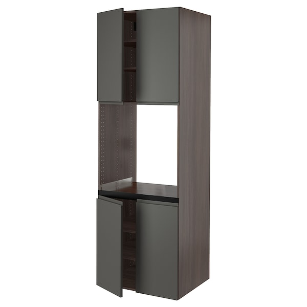 """SEKTION High cabinet for oven w 4 doors, brown/Voxtorp dark gray, 30x24x90 """""""
