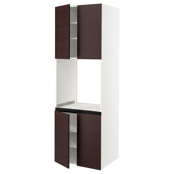 """SEKTION High cabinet for oven w 4 doors, white Askersund/dark brown ash effect, 30x24x90 """""""