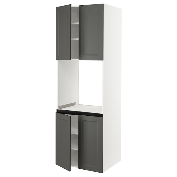 SEKTION High cabinet for oven w 4 doors, white/Axstad dark gray, 30x24x90 ""