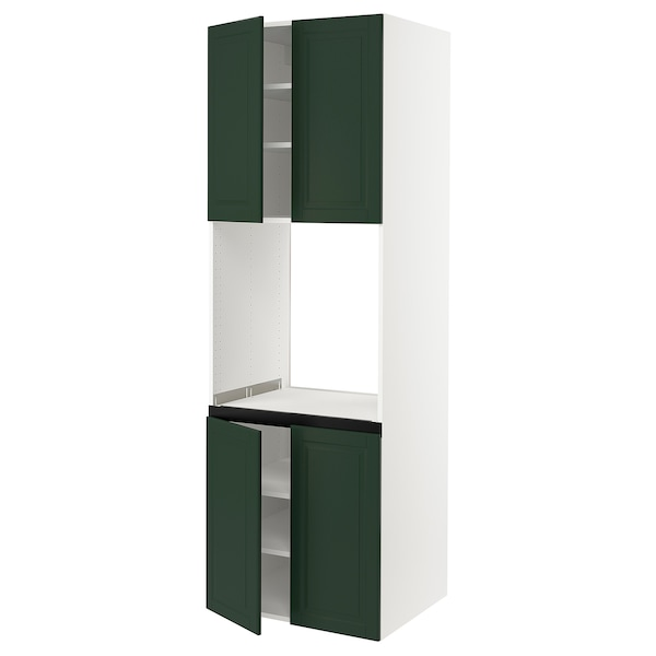 SEKTION High cabinet for oven w 4 doors, white/Bodbyn dark green, 30x24x90 ""