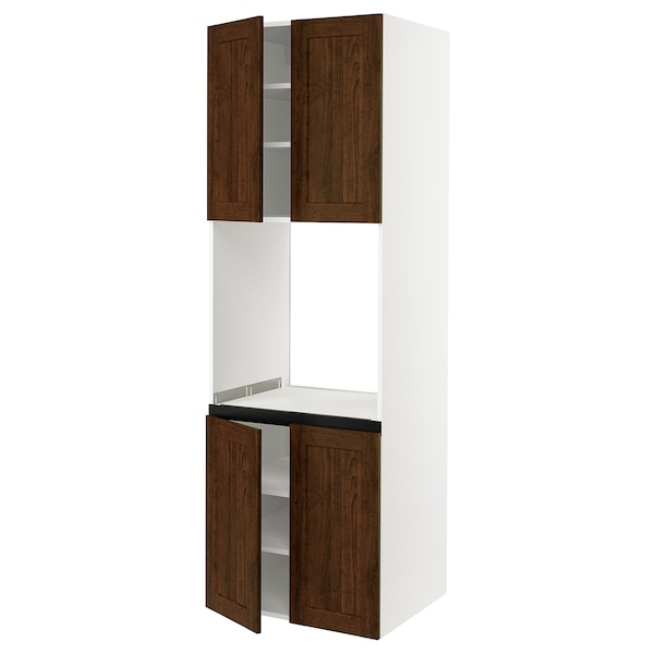 SEKTION High cabinet for oven w 4 doors, white/Edserum brown, 30x24x90 ""