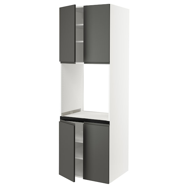 """SEKTION High cabinet for oven w 4 doors, white/Voxtorp dark gray, 30x24x90 """""""