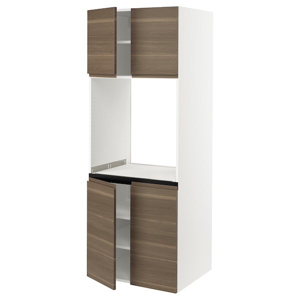 """SEKTION High cabinet for oven w 4 doors, white/Voxtorp walnut effect, 30x24x80 """""""