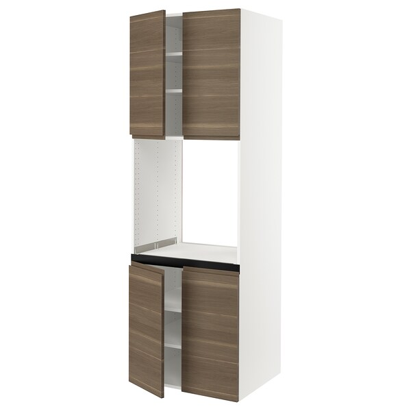 SEKTION High cabinet for oven w 4 doors, white/Voxtorp walnut effect, 30x24x90 ""