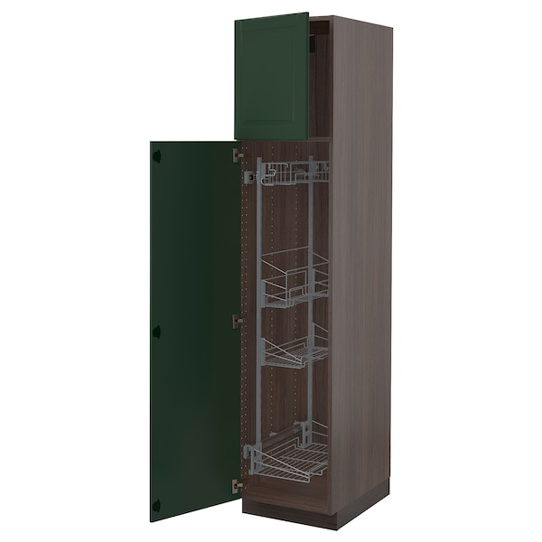 """SEKTION High cabinet/pull-out int fittings, brown/Bodbyn dark green, 18x24x80 """""""