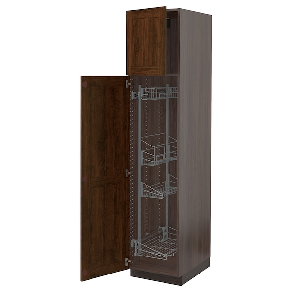 """SEKTION High cabinet/pull-out int fittings, brown/Edserum brown, 18x24x80 """""""