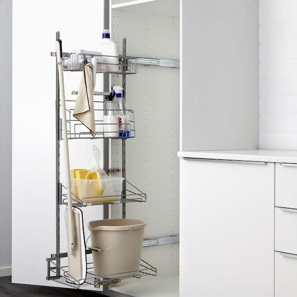 """SEKTION High cabinet/pull-out int fittings, brown/Lerhyttan black stained, 24x24x80 """""""
