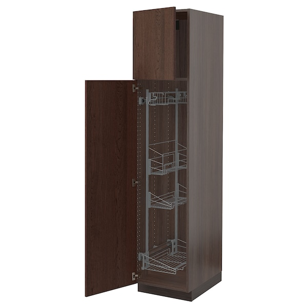"""SEKTION High cabinet/pull-out int fittings, brown/Sinarp brown, 18x24x80 """""""
