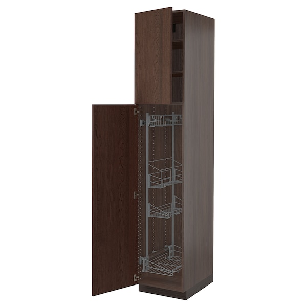 """SEKTION High cabinet/pull-out int fittings, brown/Sinarp brown, 18x24x90 """""""