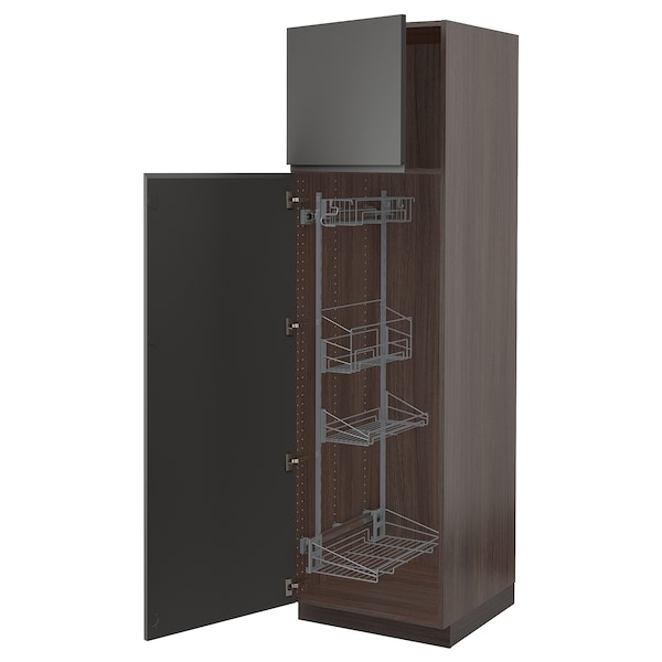 """SEKTION High cabinet/pull-out int fittings, brown/Voxtorp dark gray, 24x24x80 """""""
