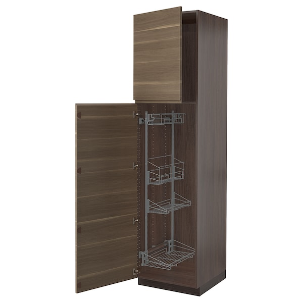 SEKTION High cabinet/pull-out int fittings, brown/Voxtorp walnut effect, 24x24x90 ""