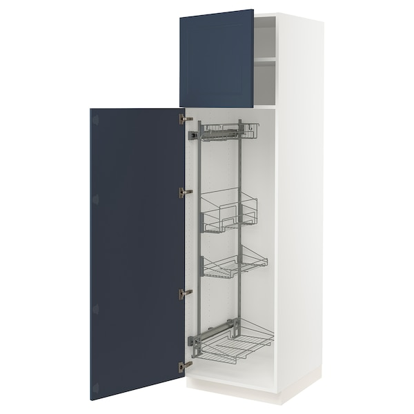 """SEKTION High cabinet/pull-out int fittings, white Axstad/matte blue, 24x24x80 """""""