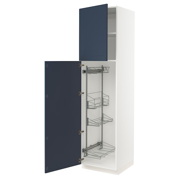 """SEKTION High cabinet/pull-out int fittings, white Axstad/matte blue, 24x24x90 """""""