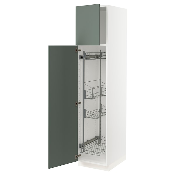 """SEKTION High cabinet/pull-out int fittings, white/Bodarp gray-green, 18x24x80 """""""