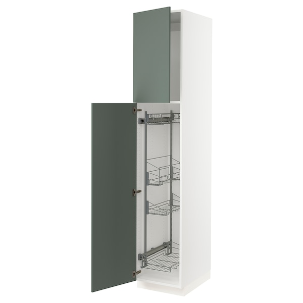 """SEKTION High cabinet/pull-out int fittings, white/Bodarp gray-green, 18x24x90 """""""