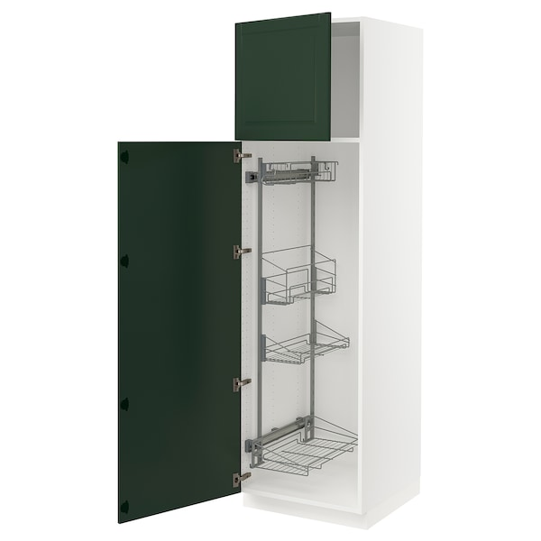 """SEKTION High cabinet/pull-out int fittings, white/Bodbyn dark green, 24x24x80 """""""