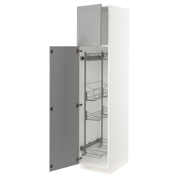 """SEKTION High cabinet/pull-out int fittings, white/Bodbyn gray, 18x24x80 """""""