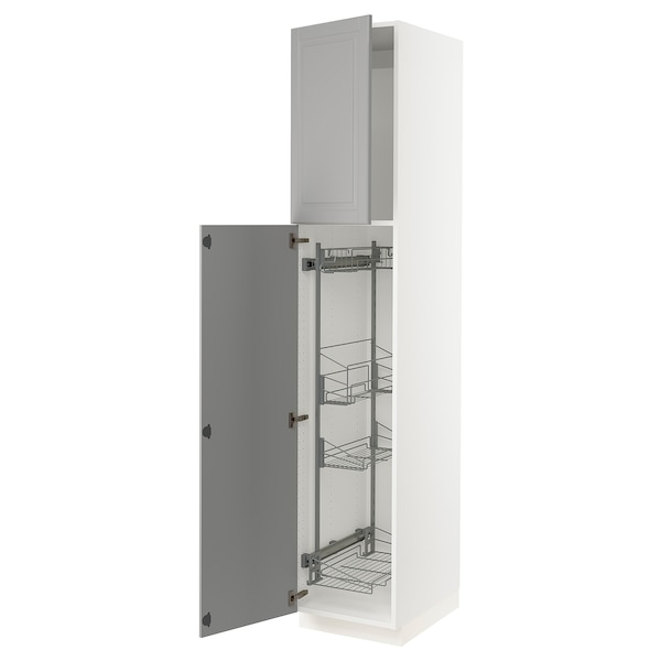 """SEKTION High cabinet/pull-out int fittings, white/Bodbyn gray, 18x24x90 """""""