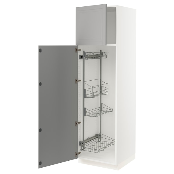 """SEKTION High cabinet/pull-out int fittings, white/Bodbyn gray, 24x24x80 """""""