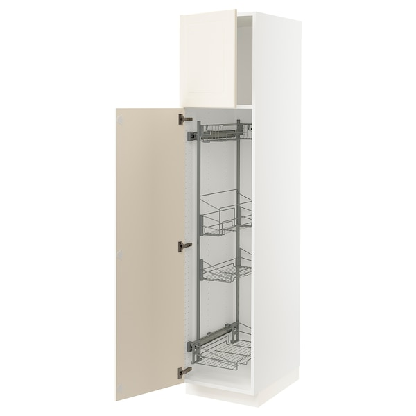 SEKTION High cabinet/pull-out int fittings, white/Bodbyn off-white, 18x24x80 ""