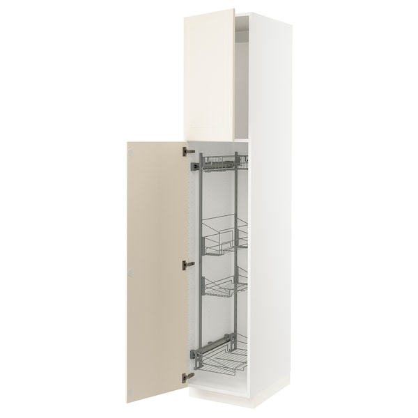 """SEKTION High cabinet/pull-out int fittings, white/Bodbyn off-white, 18x24x90 """""""