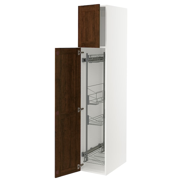 """SEKTION High cabinet/pull-out int fittings, white/Edserum brown, 15x24x80 """""""