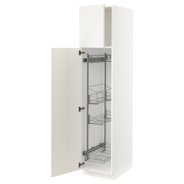 """SEKTION High cabinet/pull-out int fittings, white/Grimslöv off-white, 18x24x80 """""""