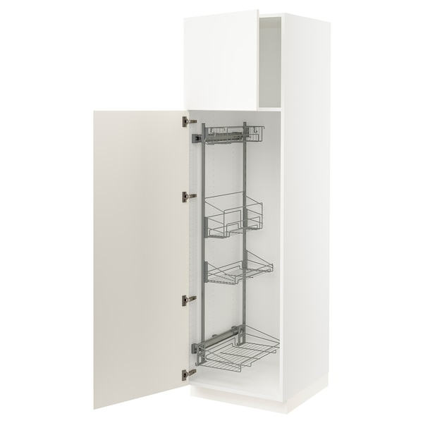 """SEKTION High cabinet/pull-out int fittings, white/Grimslöv off-white, 24x24x80 """""""