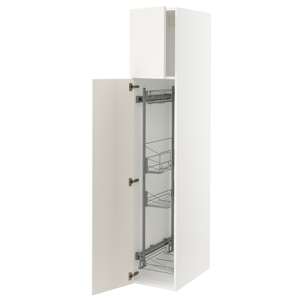 """SEKTION High cabinet/pull-out int fittings, white/Grimslöv off-white, 15x24x80 """""""
