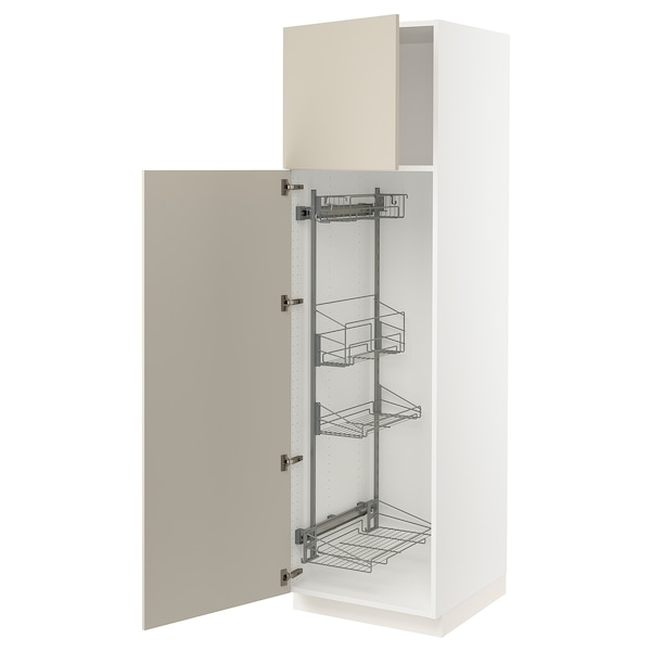 """SEKTION High cabinet/pull-out int fittings, white/Havstorp beige, 24x24x80 """""""