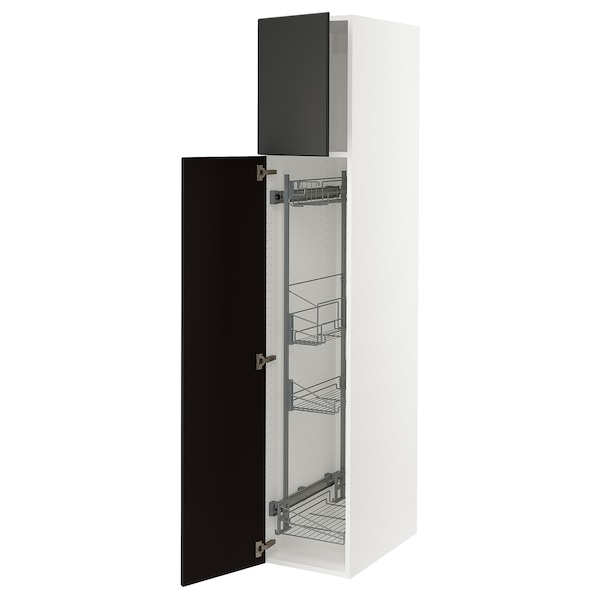 """SEKTION High cabinet/pull-out int fittings, white/Kungsbacka anthracite, 15x24x80 """""""