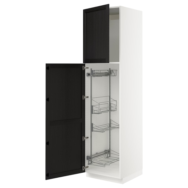 """SEKTION High cabinet/pull-out int fittings, white/Lerhyttan black stained, 24x24x90 """""""