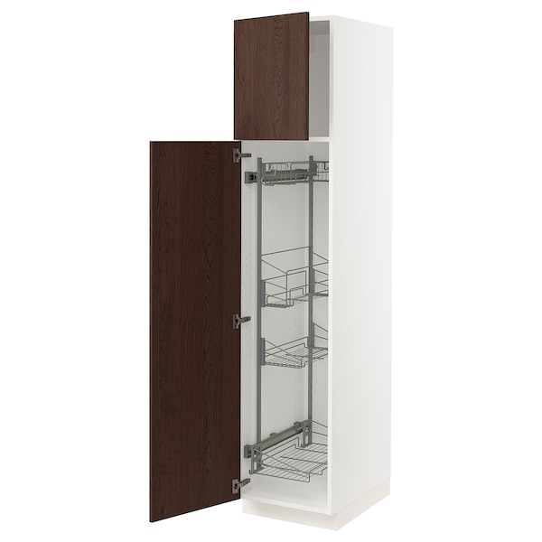 SEKTION High cabinet/pull-out int fittings, white/Sinarp brown, 18x24x80 ""