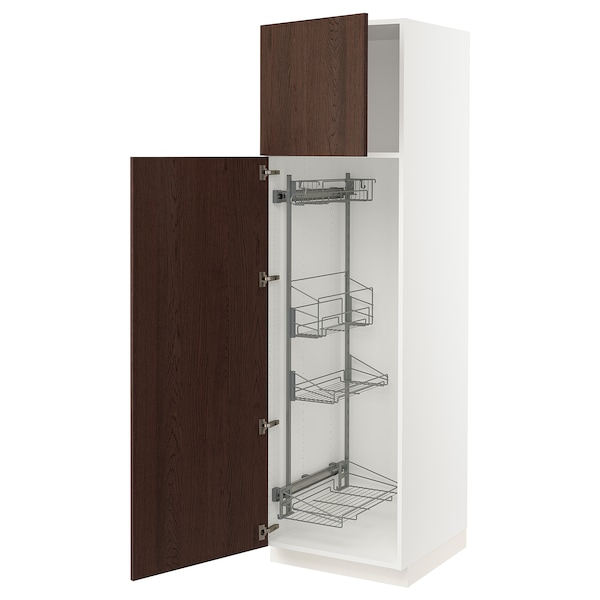 """SEKTION High cabinet/pull-out int fittings, white/Sinarp brown, 24x24x80 """""""