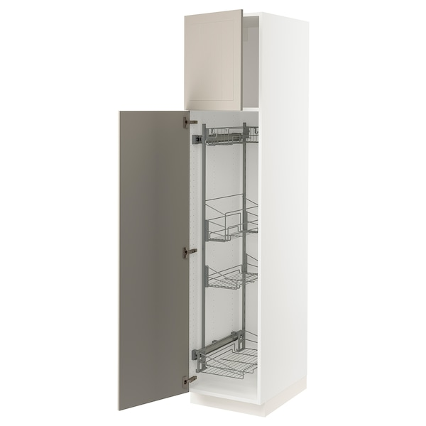 """SEKTION High cabinet/pull-out int fittings, white/Stensund beige, 18x24x80 """""""