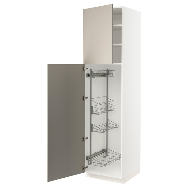 """SEKTION High cabinet/pull-out int fittings, white/Stensund beige, 24x24x90 """""""