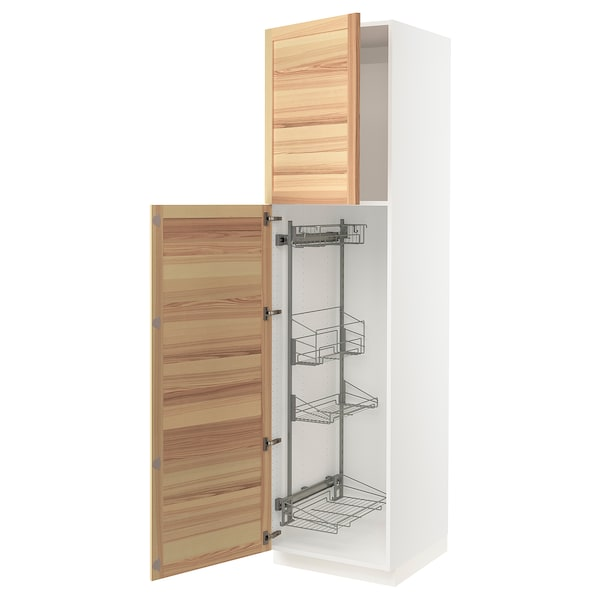 """SEKTION High cabinet/pull-out int fittings, white/Torhamn ash, 24x24x90 """""""