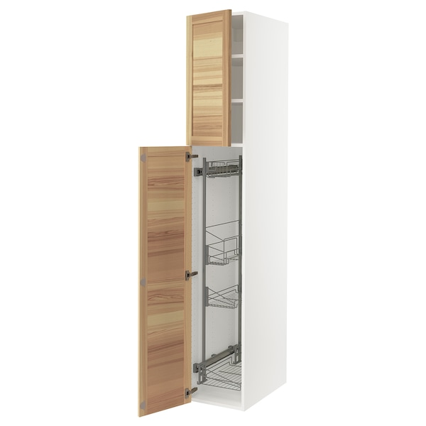 SEKTION High cabinet/pull-out int fittings, white/Torhamn ash, 15x24x90 ""