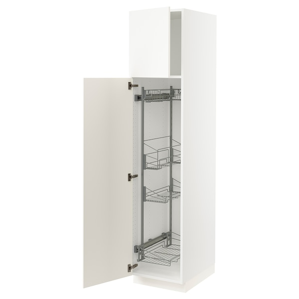 """SEKTION High cabinet/pull-out int fittings, white/Veddinge white, 18x24x80 """""""