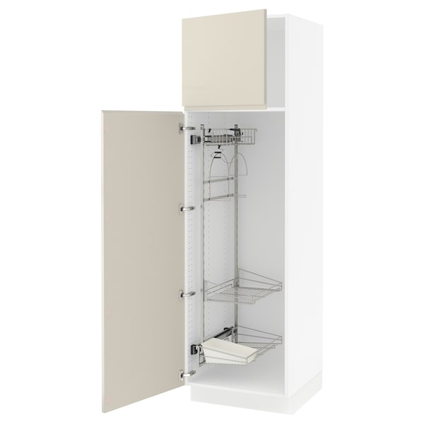 """SEKTION High cabinet/pull-out int fittings, white/Voxtorp high-gloss light beige, 24x24x80 """""""