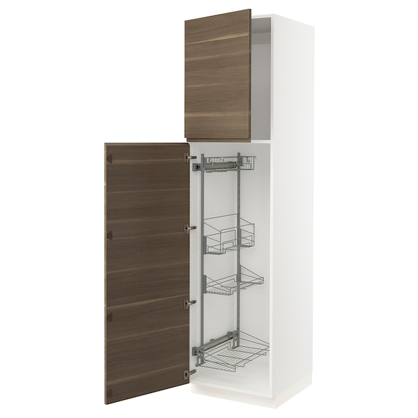 """SEKTION High cabinet/pull-out int fittings, white/Voxtorp walnut effect, 24x24x90 """""""